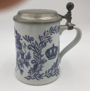 8691 - H - German Stein - Blue/White Crest Stamped on Bottom of the Stein - Ges Gesch - Dr. Markle Atelier