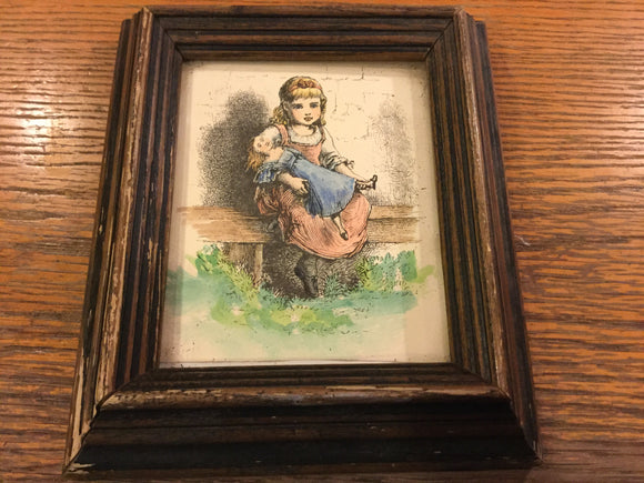 7816 - A - Print - Little Girl Holding Doll - 6 x 7 framed under Glass - Judy Lipkowers Art Studio