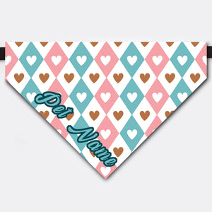 Custom Heart Shaped Rhombus Love Pet Name Bandana Collar