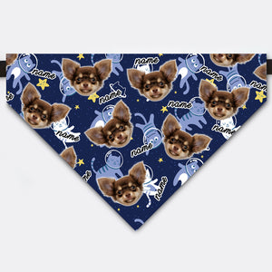 Custom Spaceman Cat Starry Sky Pet Face Bandana Collar