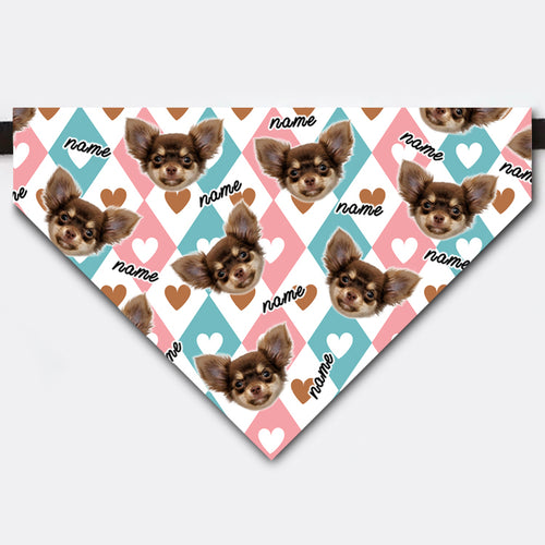 Custom Heart Shaped Rhombus Love Pet Face Bandana Collar