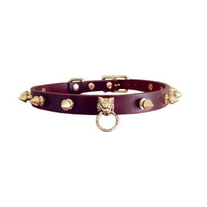 Lion Studded Rivet Spiked Leather Pet Collar