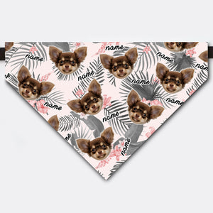 Custom Gray Tropical Pet Face Bandana Collar