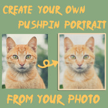 Load image into Gallery viewer, Custom Pet Mosaics Push Pin Art Portrait,  Digital Pixel Thumbtack Wall Hanging