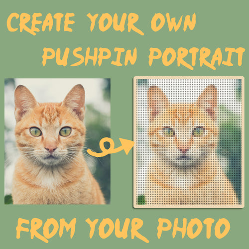 Custom Pet Mosaics Push Pin Art Portrait,  Digital Pixel Thumbtack Wall Hanging