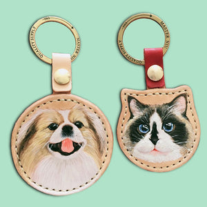 Custom Pet Painted and Carved Leather Keychain,Purse Accessories,Bag Charm