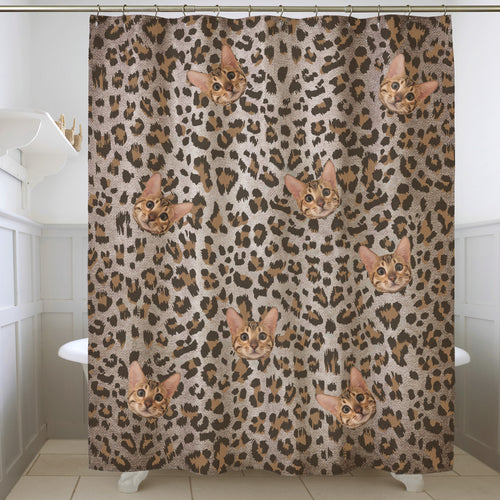 Custom Pet Face Leopard Pattern Shower Curtain Match With Bengal Cat