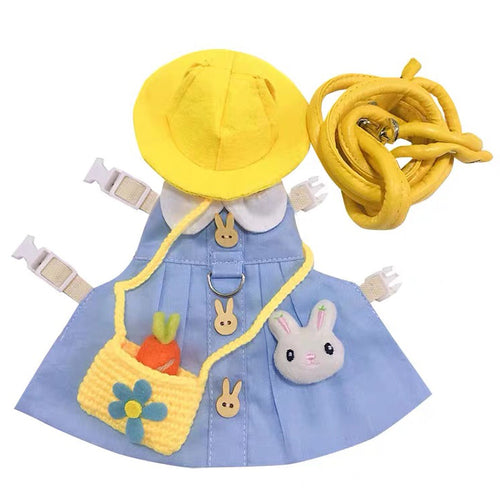 Cute Blue Hat & Dress Leash Harness Set For Small Pets