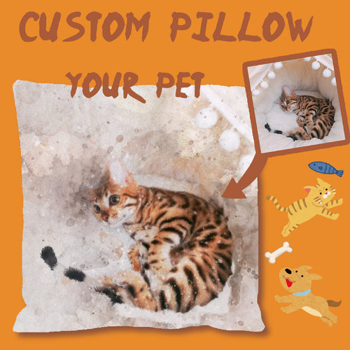 Custom Pet Watercolor Portrait Pillow