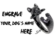 Load image into Gallery viewer, French Bulldog Adjustable Ring Personalized Engrave Your Dog's Name