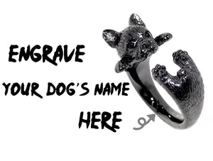 French Bulldog Adjustable Ring Personalized Engrave Your Dog's Name