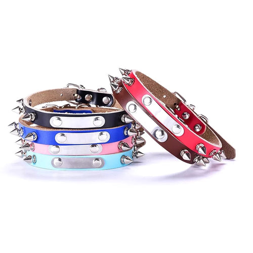 Personalized Engraved Pet Name Studded Rivet Spiked Leather Collar