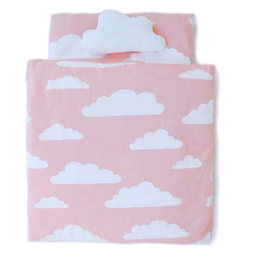 Pink Cloud Sky Pet Pillow And Quilt Bed Mat Set