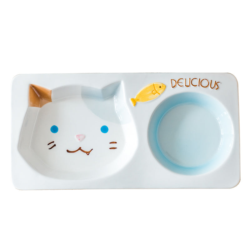 Cat Shaped Double Diner Bowl For Food & Water Pet Dish