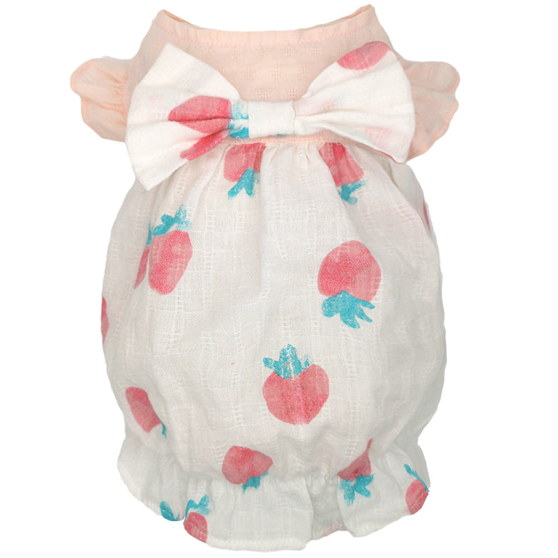 Strawberry Bow Dress For Pets