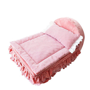Fancy Princess Lace Pink Striped Pet Bed & Pillow Set