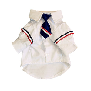 Signature-stripe Armband White Shirt With Tie