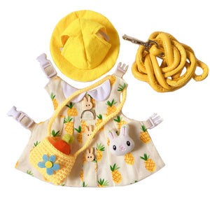 Pineapple Hat & Dress Leash Harness Set For Small Pets
