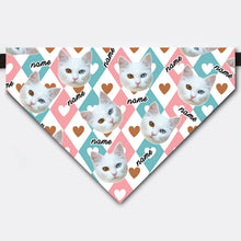 Load image into Gallery viewer, Custom Heart Shaped Rhombus Love Pet Face Bandana Collar