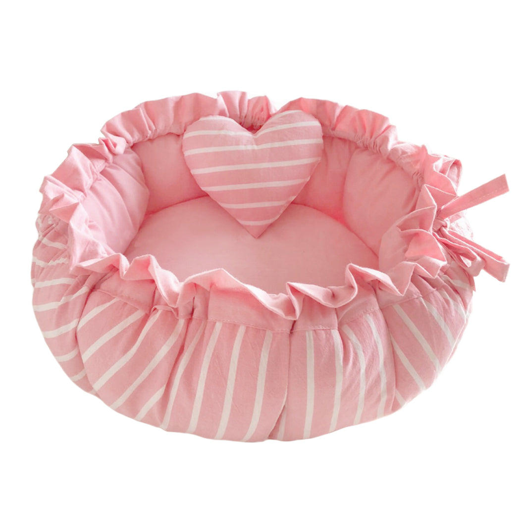 Princess Round Pet Bed & Heart Pillow Set