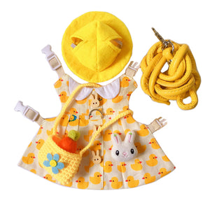 Cute Duck Hat & Dress Leash Harness Set For Small Pets