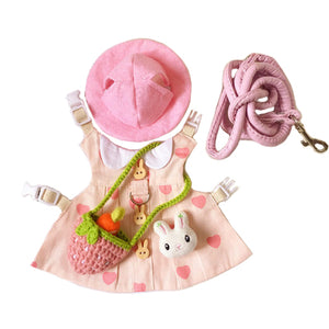 Pink Heart Hat & Dress Leash Harness Set For Small Pets