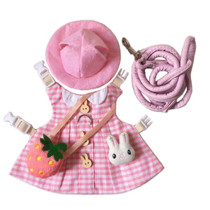 Pink Plaid Hat & Dress Leash Harness Set For Small Pets