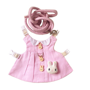 Cute Pink Hat & Dress Leash Harness Set For Small Pets