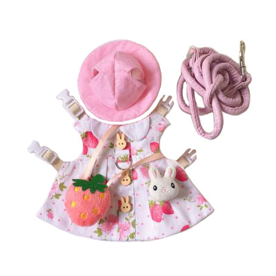 Strawberry Hat & Dress Leash Harness Set For Small Pets