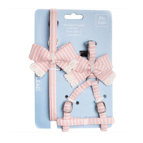 Cotton Striped Pet Vest Harness Leash Set