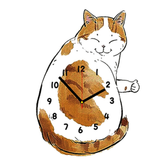 Bicolor Ginger Cat Shaped Wall Clock