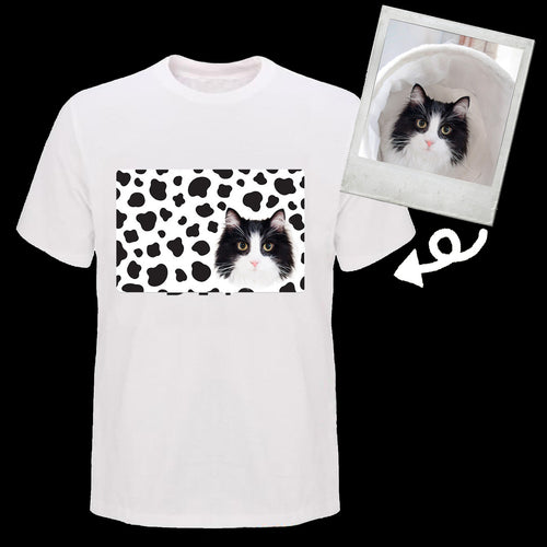 Custom tuxedo cat cow pattern T shirt