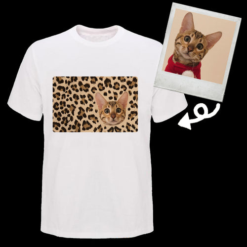 Custom Bengal Cat Pet Face T Shirt Leopard Pattern