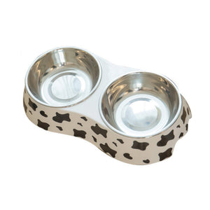 Cow Pattern Stainless Steel Pet Bowl for Food and Water Pet Dish