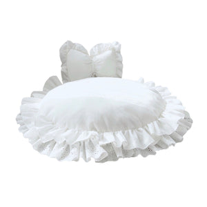 Fancy Princess Lace Round Pet Bed & Bow Pillow Set