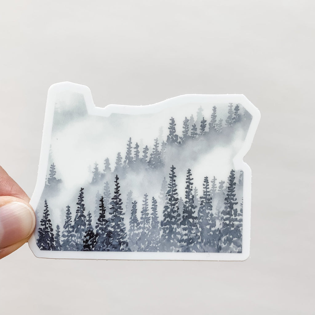 Oregon Sticker with Gray Forest Design