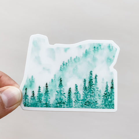 Oregon Sticker with Green Forest Design