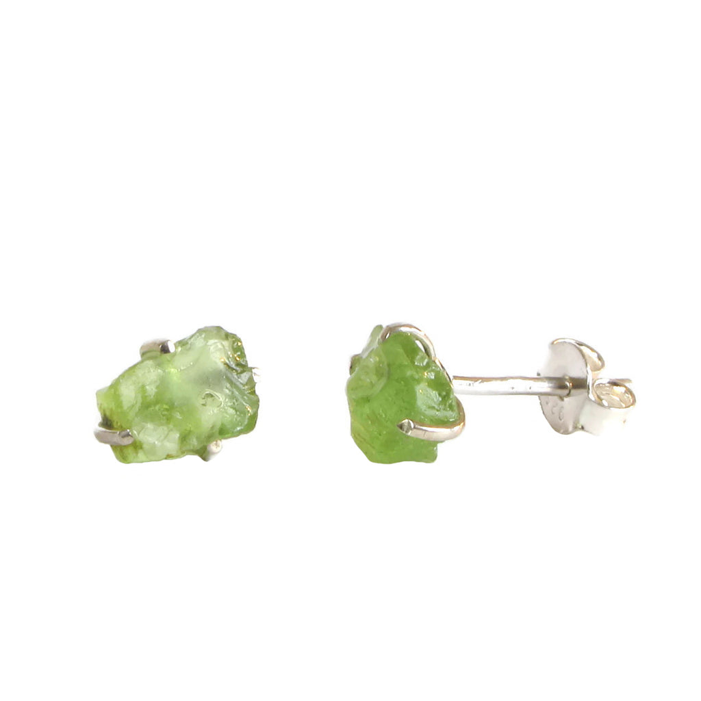 Raw Gemstone Studs - Peridot