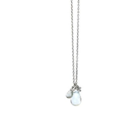 Aquamarine and Rough Diamond Cluster Necklace