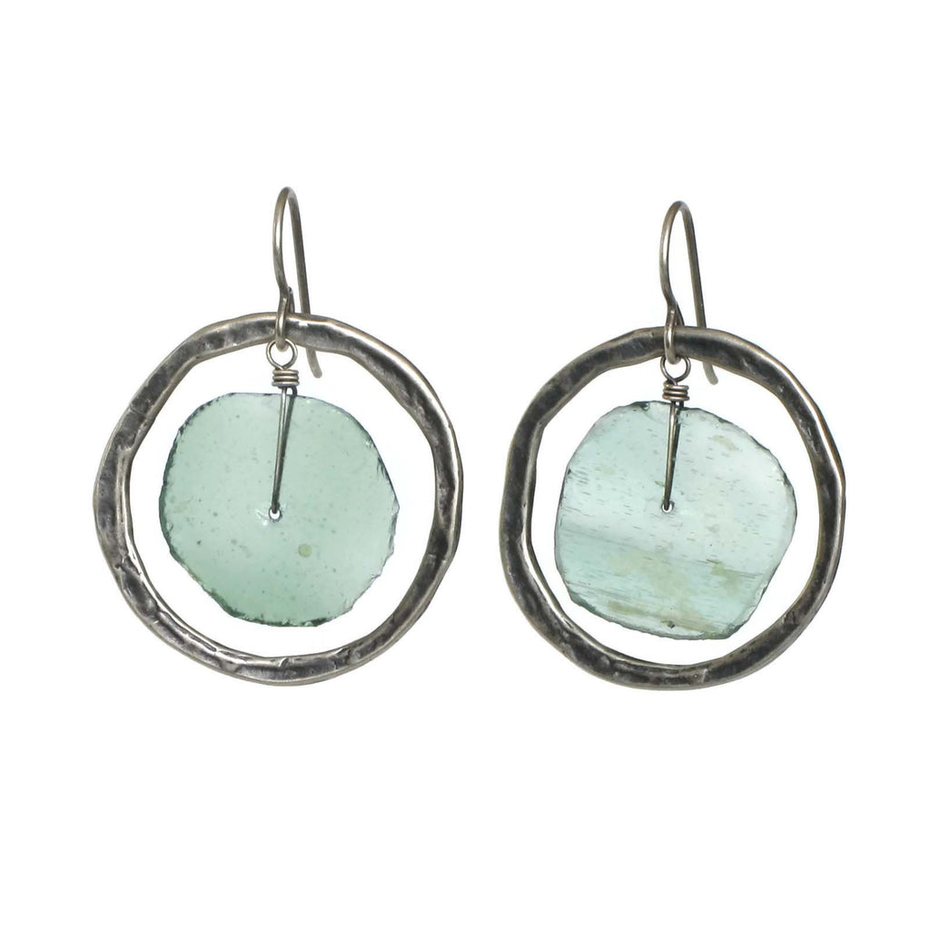 Large Ancient Glass Earrings