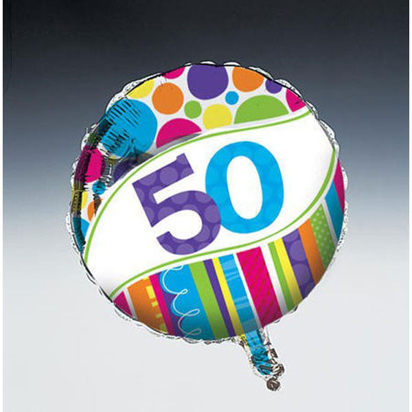 Bright and Bold 50th Birthday 45cm Foil Balloon