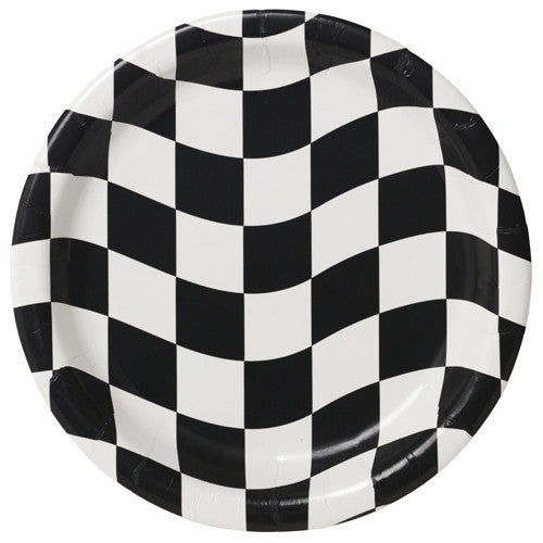 Black & White Checkered Luncheon Plates