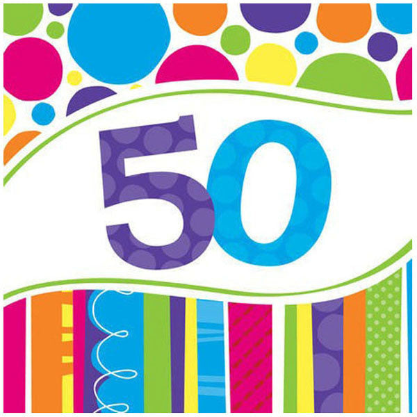 Bright and Bold 50th Birthday Luncheon Napkins