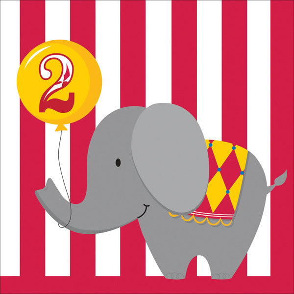 Circus Time 2nd Birthday Lunch Napkin