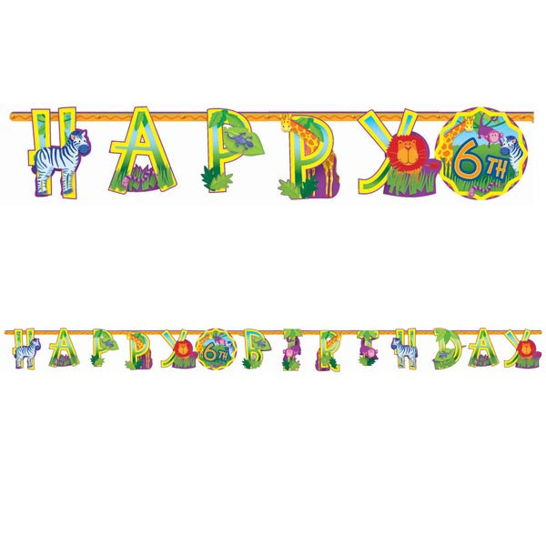 Banner Letter Add An Age Jungle Animals,