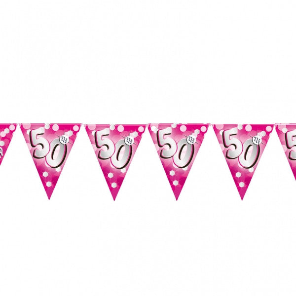 Banner Pennant 50th Birthday Pink Sparkle