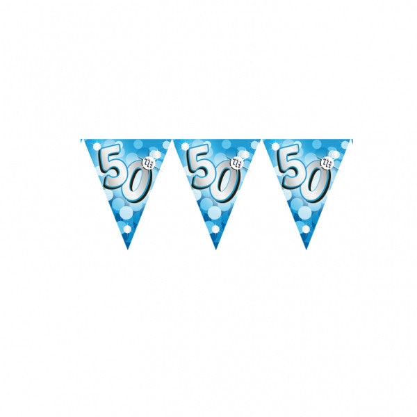 Banner Pennant 50th Birthday Blue Sparkle