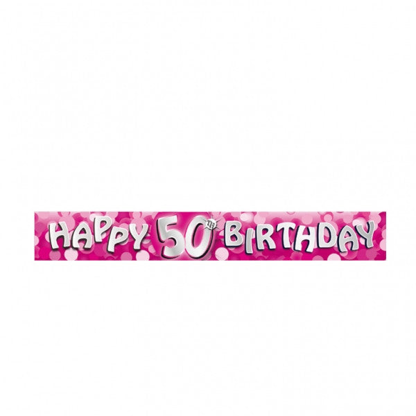 Banner Foil 50th Birthday Pink Sparkle