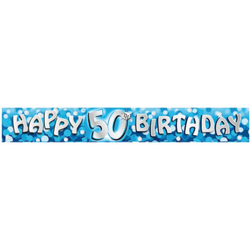 Banner Foil 50th Birthday Blue Sparkle