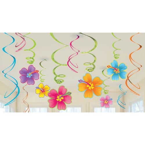 Hanging Swirls Luau Tropical Hibiscus with Cutouts